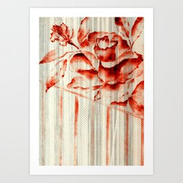 Red Roses Striped Art Print