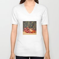 pomegranate V-neck T-shirts featuring Pomegranate by Marie Carr