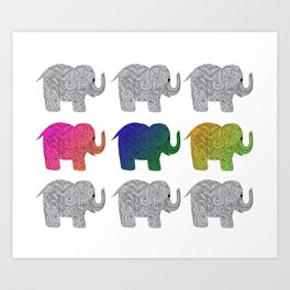 Nine Elephants Art Print