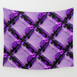 SQUARE CUT PURPLE FEBRUARY AMETHYST GEMS DIAGONAL PATTERN Wall Tapestry