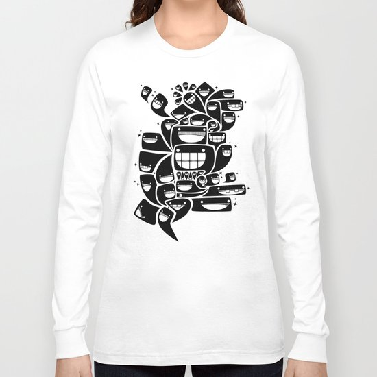 Happy Squiggles - 1-Bit Oddity - Black Version Long Sleeve T-shirt