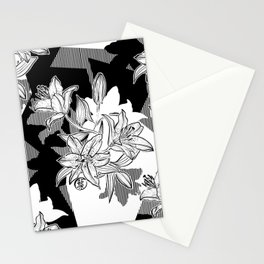 Black and White Ink Lilium Stargazer Patchwork Stationery Cards