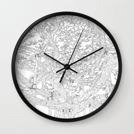 Old Pine Tree in Kenrokuen, Japan - Line Art Wall Clock