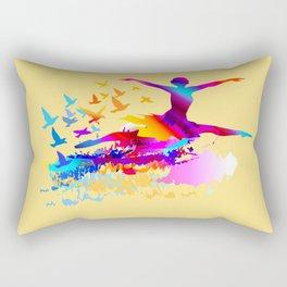 Colorful ballet dancer with flying birds Rectangular Pillow