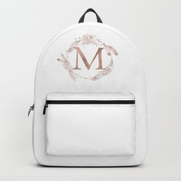Letter M Rose Gold Pink Initial Monogram Backpack