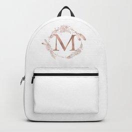 Letter M Rose Gold Pink Initial Monogram Backpack