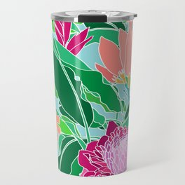 Bird of Paradise + Ginger Tropical Floral in Blue Travel Mug