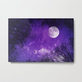 Nightsky with Full Moon in Ultra Violet Metal Print