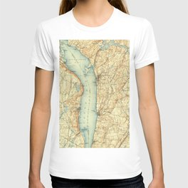 Vintage Map of Tarrytown NY & The Hudson River T-shirt