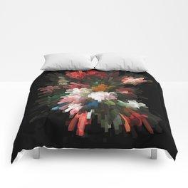 Abstract dark pixel flowers Comforters