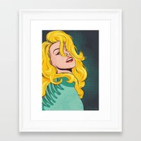 popart Framed Art Prints featuring Blond popart by Kate