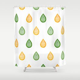 Yellow and green raindrops Shower Curtain