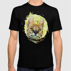 SERVAL BEAUTY Black Mens Fitted Tee MEDIUM