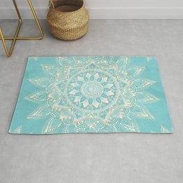 Elegant White Gold Mandala Sky Blue Design Rug