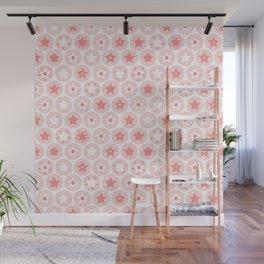 Geometric pink girls kids circles and stars seamless pattern on white background Wall Mural