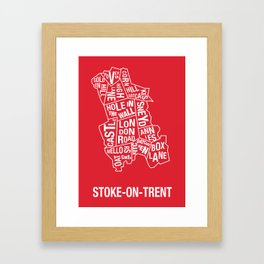 Typographical Map of Oatcakes Shops Framed Art Print