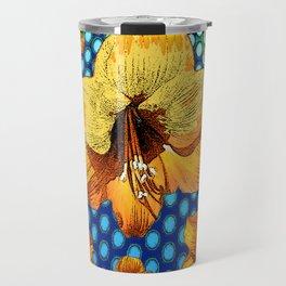 YELLOW-ORANGE AMARYLLIS FLOWERS ON BLUE ABSTRACT Travel Mug