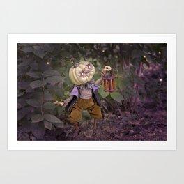 Rucus Studio Pumpkin Man and Fireflies Art Print