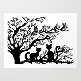 Cats on the tree Art Print