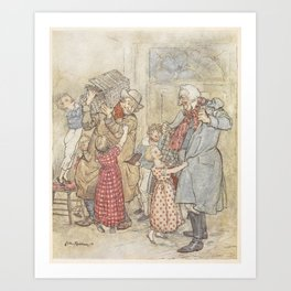 Arthur Rackham - Dickens' Christmas Carol (1915): Laden with Christmas Toys and Presents Art Print