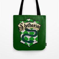 slytherin Tote Bags featuring Slytherin Crest by AriesNamarie