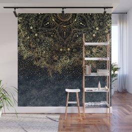 Stylish Gold floral mandala and confetti Wall Mural
