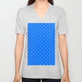 White on Brandeis Blue Snowflakes Unisex V-Neck