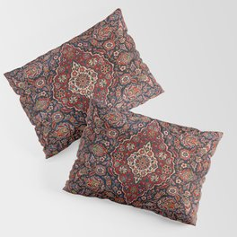 Persia Kurk Kashan Old Century Authentic Colorful Surreal Red Collage Vintage Rug Pattern Pillow Sham