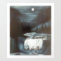 Blue Moon Falls Art Print