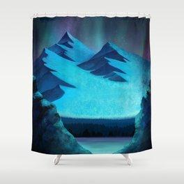 Aurora Borealis In The Mountain Pass Shower Curtain