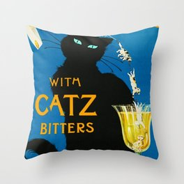 Mix Your Drinks with Catz (Cats) Bitters Aperitif Liquor Vintage Advertising Poster Throw Pillow