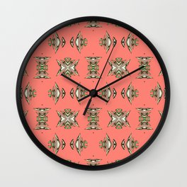 Hand Illustrated Aztec NeoTribal Elegant Coral Print Wall Clock