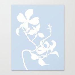 Dogwood in Pale Blue - Original Floral Botanical Papercut Design Canvas Print