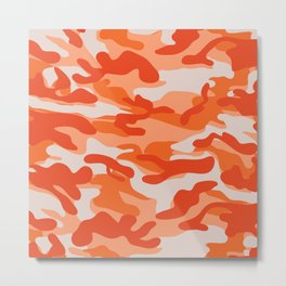 Orange Military Camouflage Pattern Metal Print