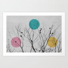 modern winter birds Art Print