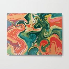Rainbow Watercolor Marble Pattern Metal Print