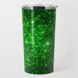 gAlAXy Green Sparkle Stars Travel Mug
