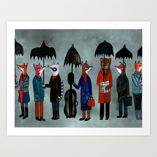 In the Rain Art Print