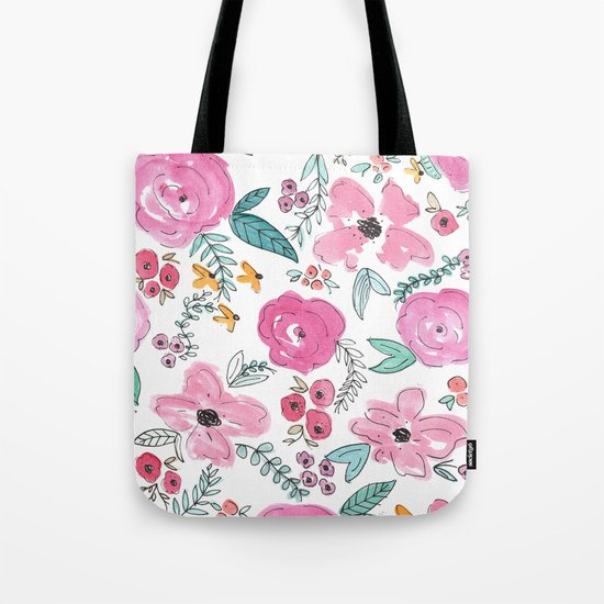 Pink Watercolor Floral Print  Tote Bag