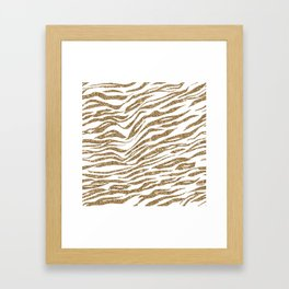 White & Glitter Animal Print Pattern Framed Art Print