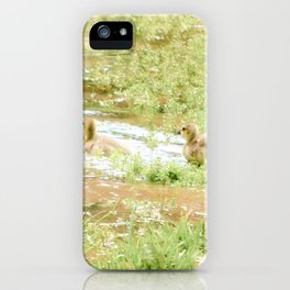 Mom and Babies Swimming Goslings iPhone Case