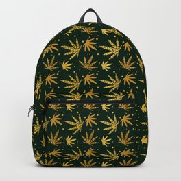 Marijuana leaf seamless pattern background in gold color Backpack