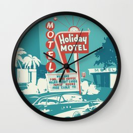 Vintage car and motel sign 50es style Wall Clock