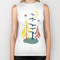 skiing Biker Tanks featuring Retro Skiing  by beach please