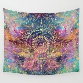 Gold watercolor and nebula mandala Wall Tapestry
