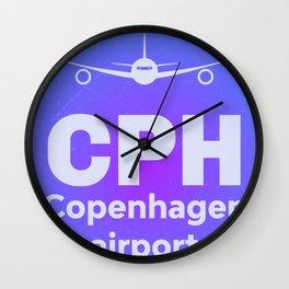 CPH Copenhagen airport blue Wall Clock
