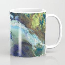 White Lava Cloud on Gold Brass Blue Green Flow Coffee Mug