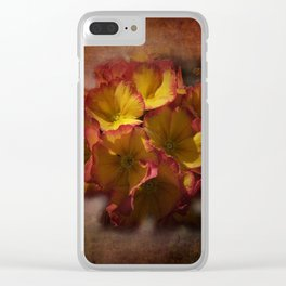 primroses on ancient texture -2- Clear iPhone Case