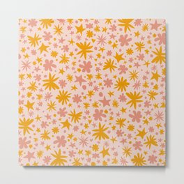 Cute Pattern with Stars, Flowers, Polka Dots and Hearts - Floral Illustration Metal Print