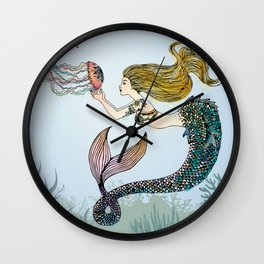 Jellyfish and Mermaid Wall Clock
